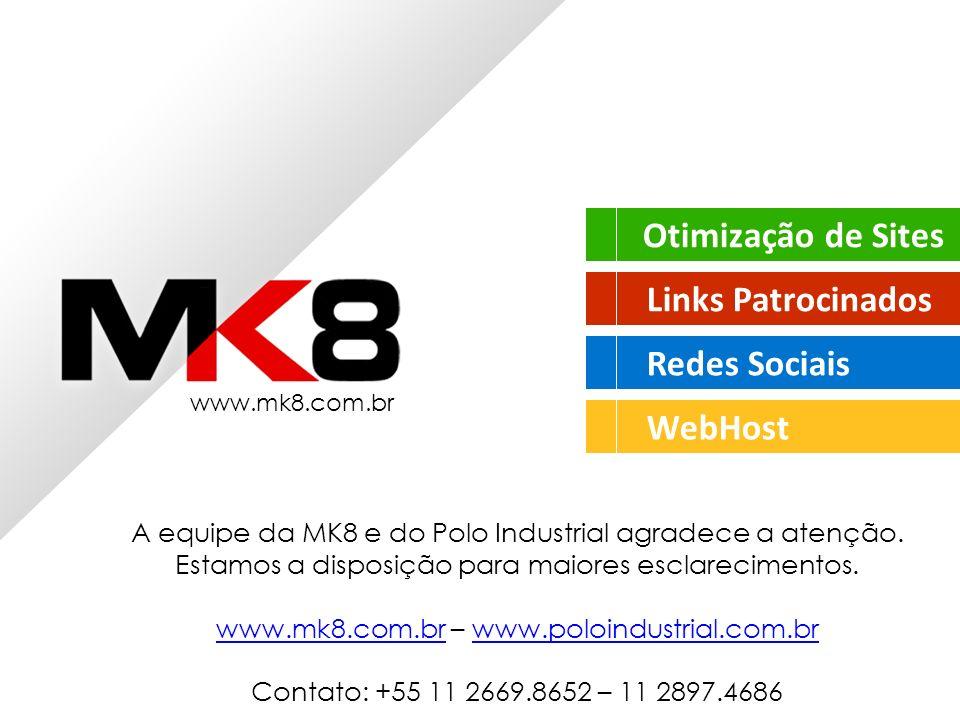Otimização de Sites Links Patrocinados Redes Sociais WebHost www.mk8.com.br A equipe da MK8 e do Polo Industrial agradece a atenção.