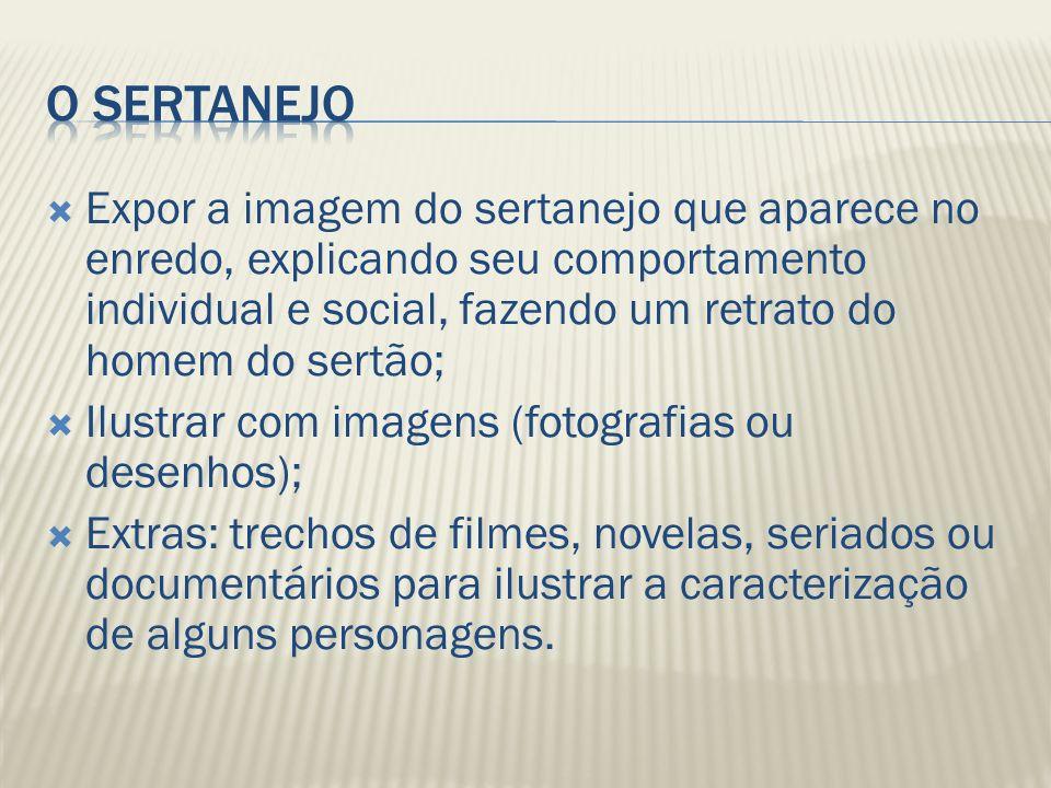 Expor a imagem do sertanejo que aparece no enredo, explicando seu comportamento individual e social, fazendo um retrato do homem do sertão; Ilustrar c