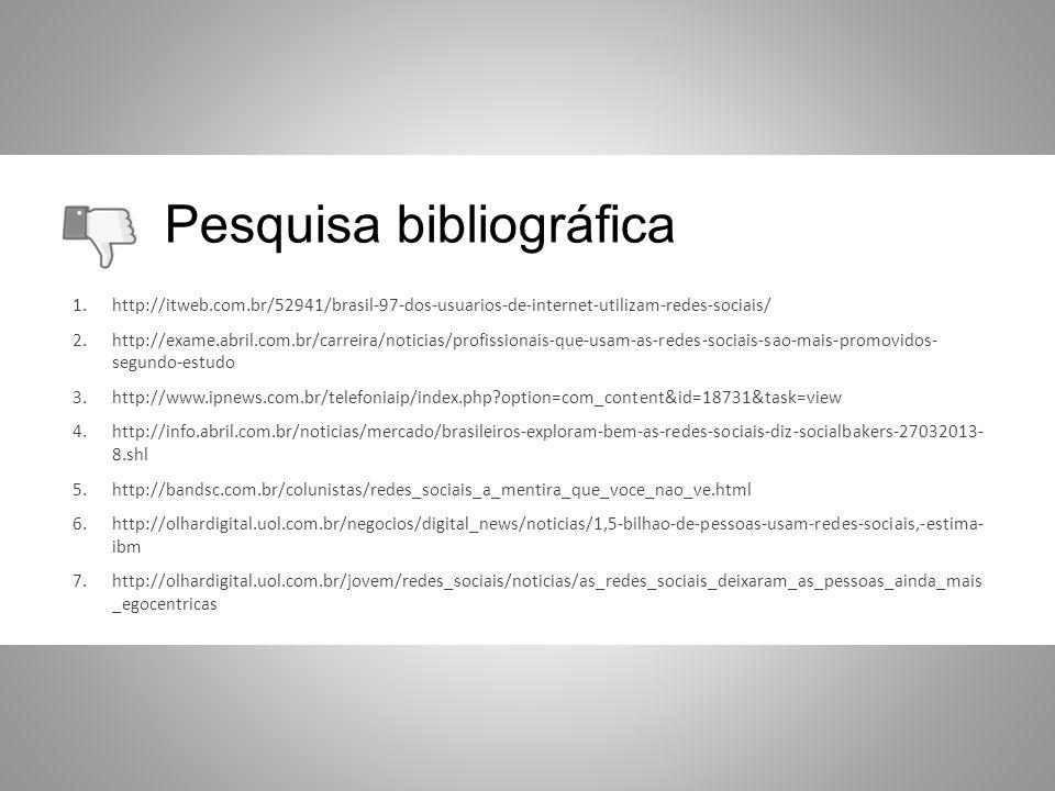 Pesquisa bibliográfica 1.http://itweb.com.br/52941/brasil-97-dos-usuarios-de-internet-utilizam-redes-sociais/ 2.http://exame.abril.com.br/carreira/not