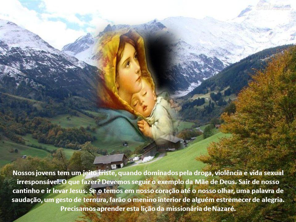 Donde me vem a honra de que a mãe do meu Senhor venha me visitar? Veja, Maria é a causa da alegria de Isabel, porque ela reconhece o Senhorio de Jesus