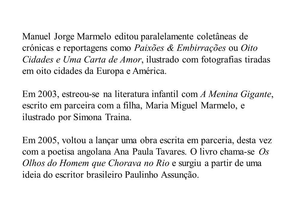 Em 1996, Manuel Jorge Marmelo iniciou a sua carreira de escritor com O Homem que Julgou Morrer de Amor/O Casal Virtual.