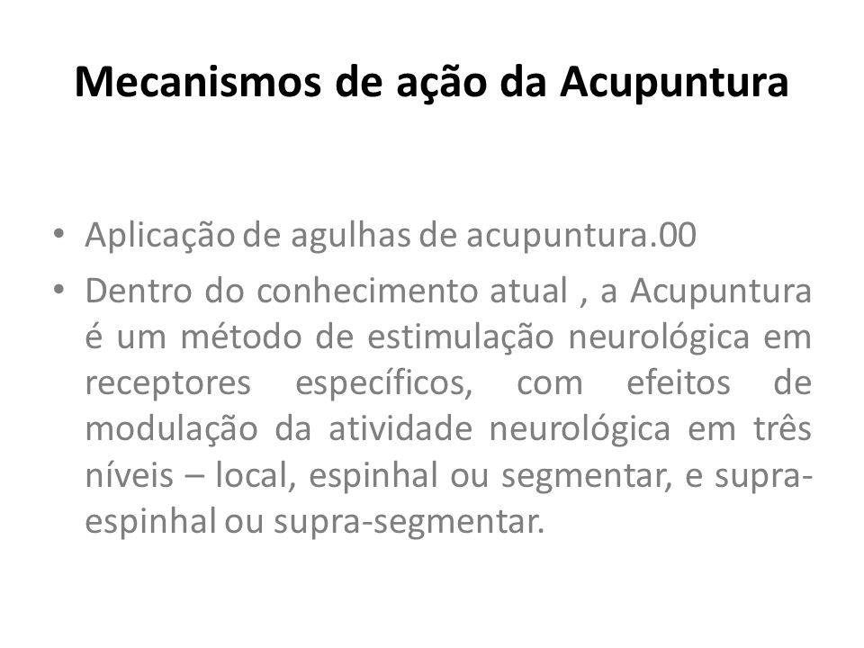 Mecanismos de ação da Acupuntura Aplicação de agulhas de acupuntura.00 Dentro do conhecimento atual, a Acupuntura é um método de estimulação neurológi