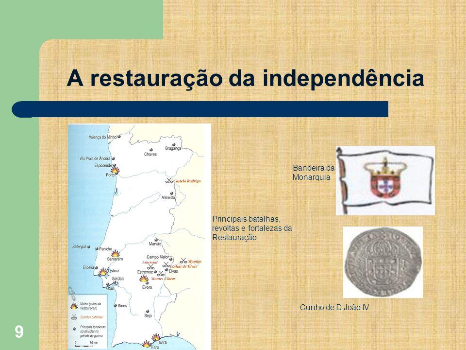 9 A restauração da independência Bandeira da Monarquia Cunho de D.João IV Principais batalhas, revoltas e fortalezas da Restauração