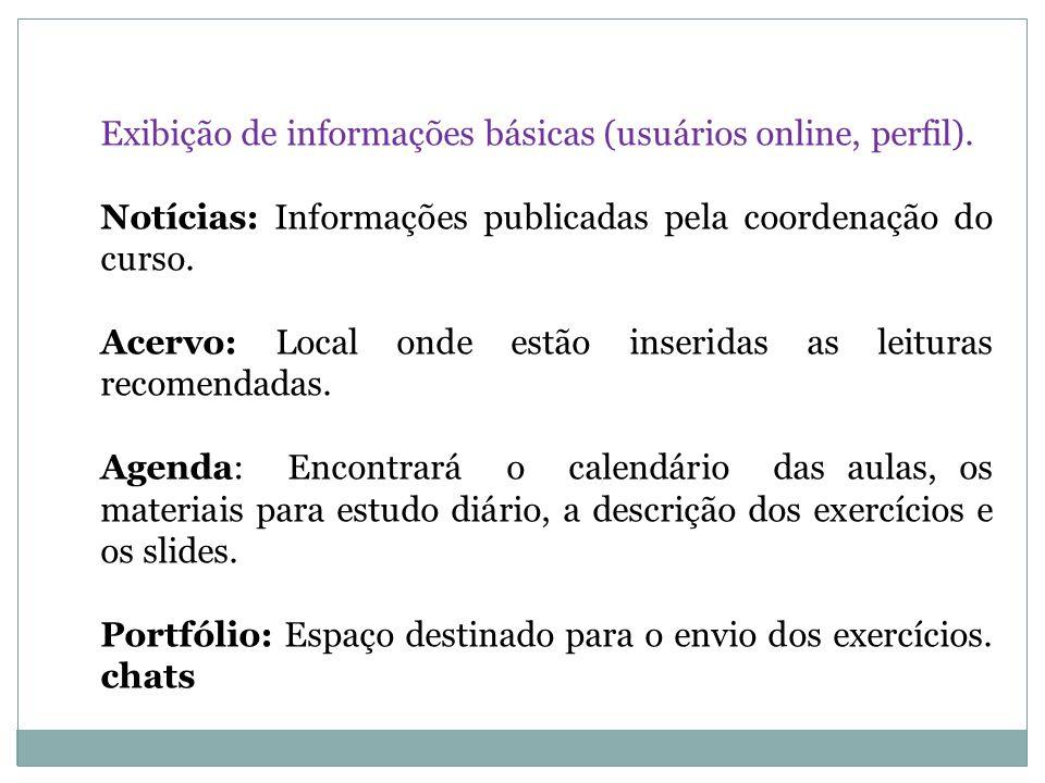 Exibição de informações básicas (usuários online, perfil). Notícias: Informações publicadas pela coordenação do curso. Acervo: Local onde estão inseri