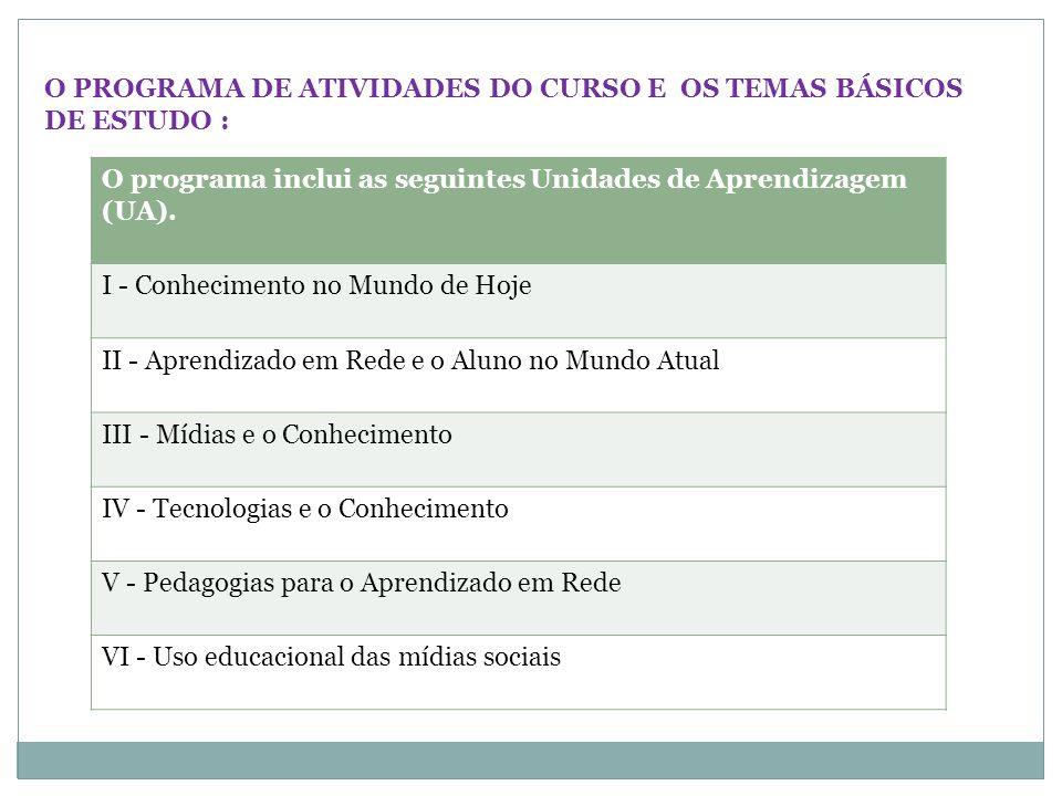 O PROGRAMA DE ATIVIDADES DO CURSO E OS TEMAS BÁSICOS DE ESTUDO : O programa inclui as seguintes Unidades de Aprendizagem (UA). I - Conhecimento no Mun