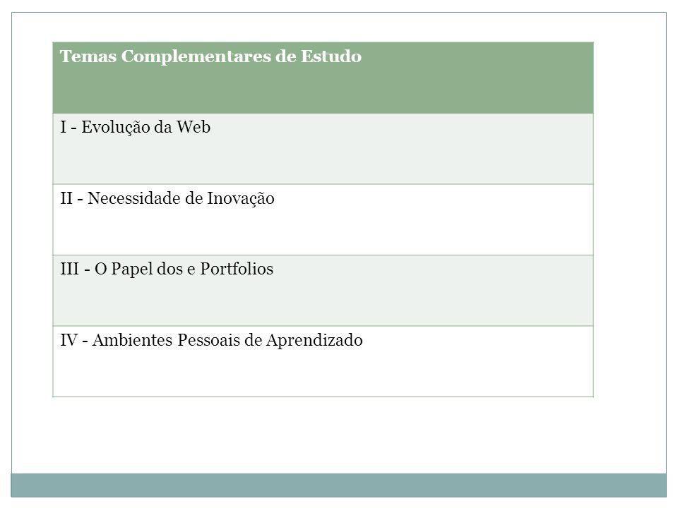 Temas Complementares de Estudo I - Evolução da Web II - Necessidade de Inovação III - O Papel dos e Portfolios IV - Ambientes Pessoais de Aprendizado