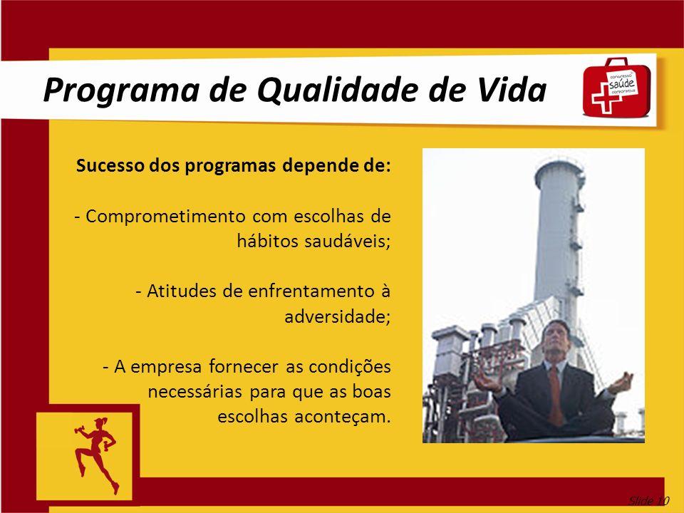 Slide 10 Programa de Qualidade de Vida Sucesso dos programas depende de: - Comprometimento com escolhas de hábitos saudáveis; - Atitudes de enfrentame