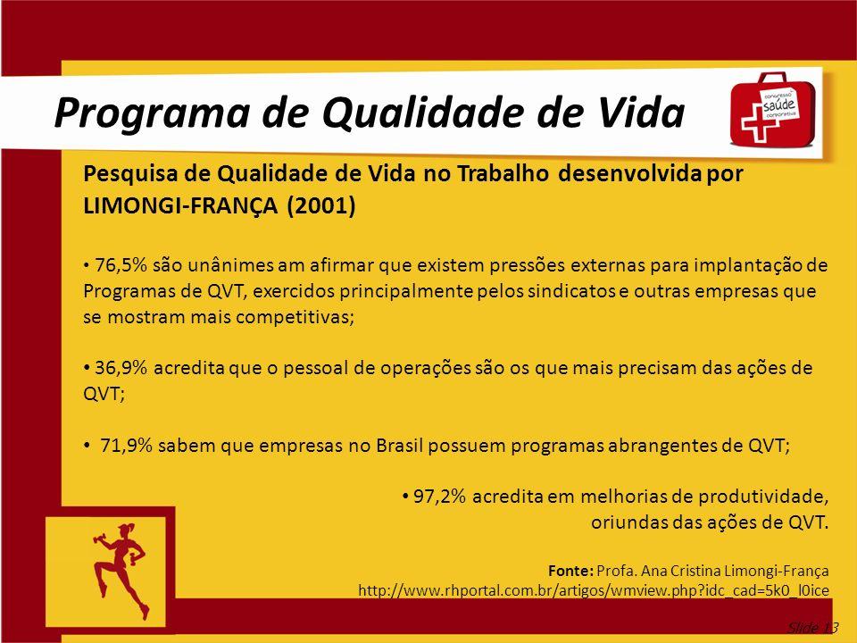 Slide 13 Programa de Qualidade de Vida Pesquisa de Qualidade de Vida no Trabalho desenvolvida por LIMONGI-FRANÇA (2001) 76,5% são unânimes am afirmar