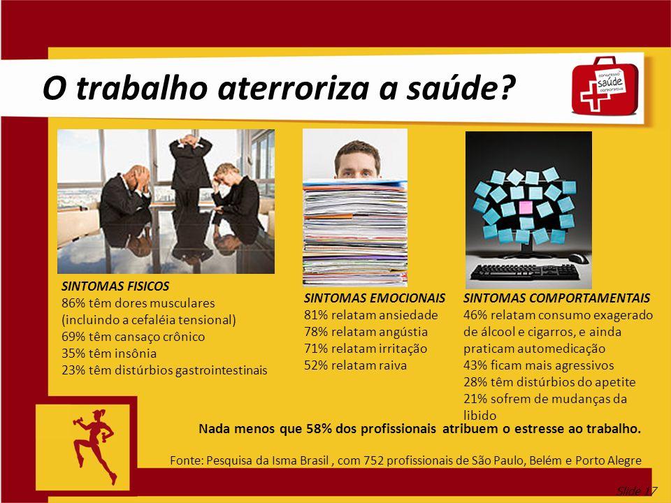 Slide 17 O trabalho aterroriza a saúde? Nada menos que 58% dos profissionais atribuem o estresse ao trabalho. Fonte: Pesquisa da Isma Brasil, com 752