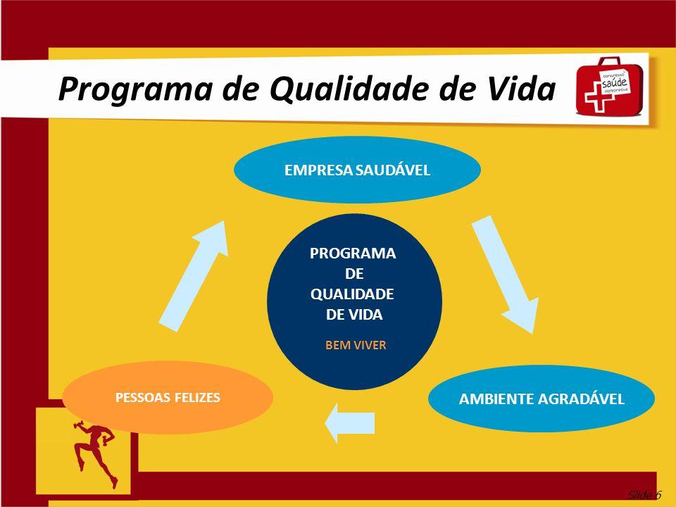 Slide 6 Programa de Qualidade de Vida PROGRAMA DE QUALIDADE DE VIDA BEM VIVER EMPRESA SAUDÁVEL AMBIENTE AGRADÁVEL PESSOAS FELIZES