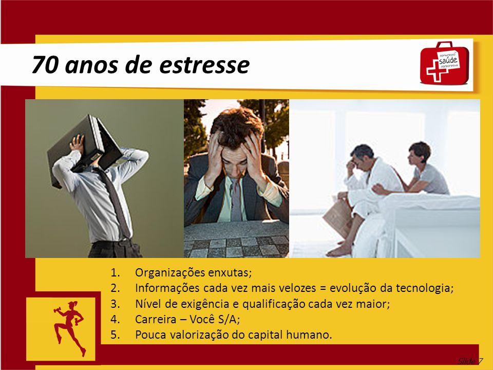 Slide 7 70 anos de estresse 1.Organizações enxutas; 2.Informações cada vez mais velozes = evolução da tecnologia; 3.Nível de exigência e qualificação