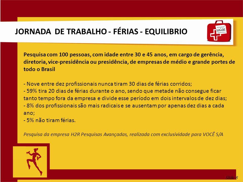 Slide 8 JORNADA DE TRABALHO - FÉRIAS - EQUILIBRIO Pesquisa com 100 pessoas, com idade entre 30 e 45 anos, em cargo de gerência, diretoria, vice-presid