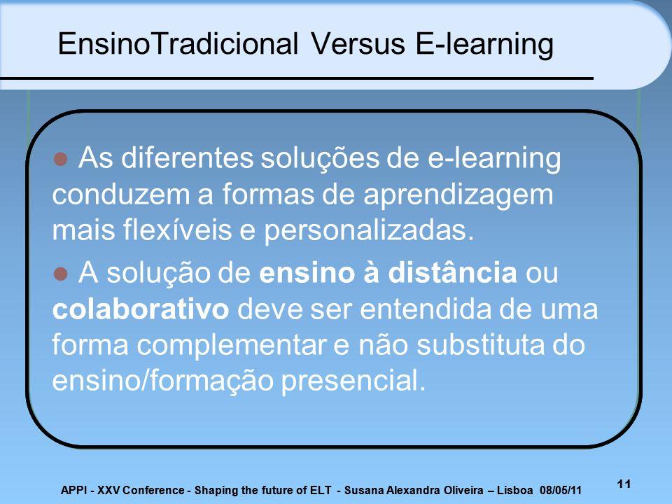 11 As diferentes soluções de e-learning conduzem a formas de aprendizagem mais flexíveis e personalizadas. A solução de ensino à distância ou colabora