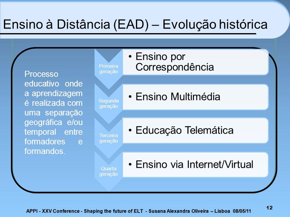 12 Ensino à Distância (EAD) – Evolução histórica Processo educativo onde a aprendizagem é realizada com uma separação geográfica e/ou temporal entre f