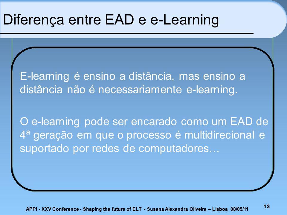 APPI - XXV Conference - Shaping the future of ELT - Susana Alexandra Oliveira – Lisboa 08/05/11 13 E-learning é ensino a distância, mas ensino a distâ