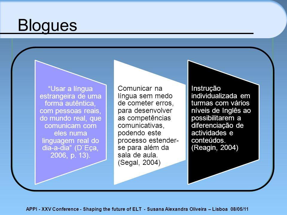 APPI - XXV Conference - Shaping the future of ELT - Susana Alexandra Oliveira – Lisboa 08/05/11 Blogues Usar a língua estrangeira de uma forma autênti