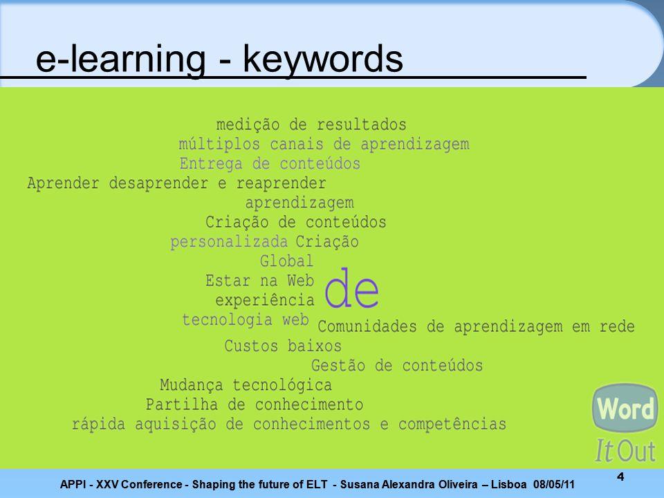 5 E-learning Criação de conteúdos Gestão de conteúdos Comunidades de aprendizagem em rede Entrega de conteúdos e-learning - keywords APPI - XXV Conference - Shaping the future of ELT - Susana Alexandra Oliveira – Lisboa 08/05/11