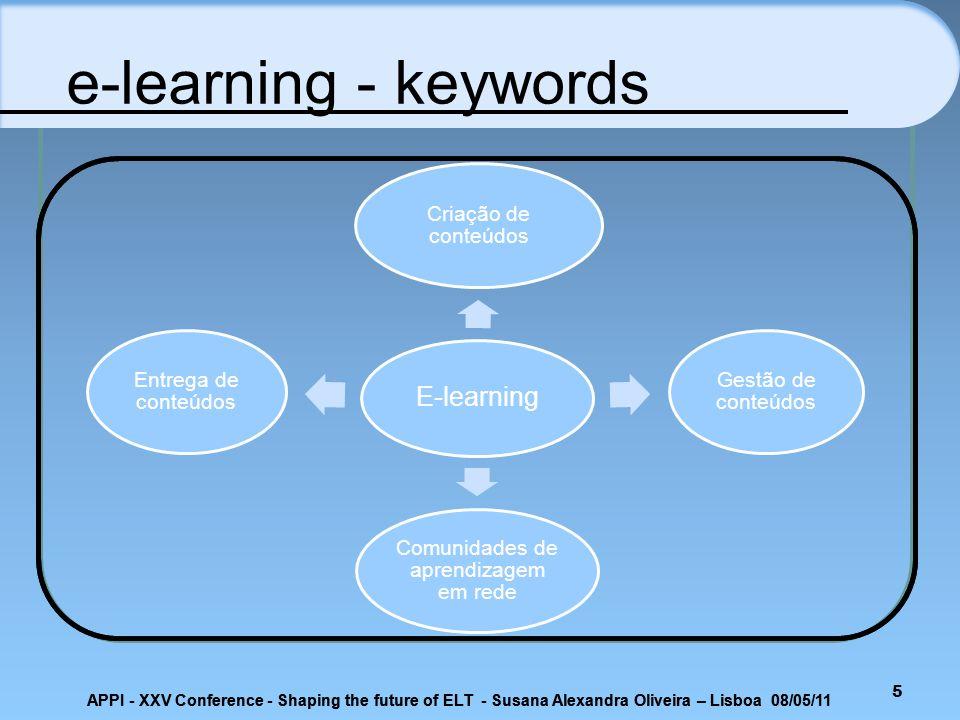 5 E-learning Criação de conteúdos Gestão de conteúdos Comunidades de aprendizagem em rede Entrega de conteúdos e-learning - keywords APPI - XXV Confer