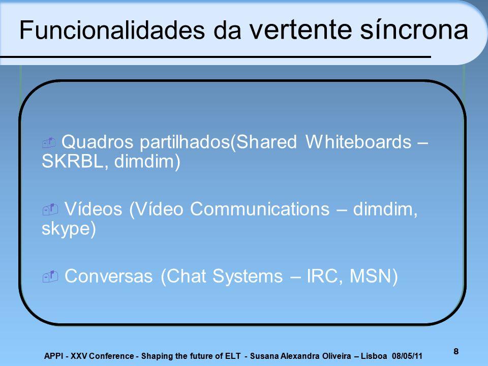 8 Quadros partilhados(Shared Whiteboards – SKRBL, dimdim) Vídeos (Vídeo Communications – dimdim, skype) Conversas (Chat Systems – IRC, MSN) Funcionali