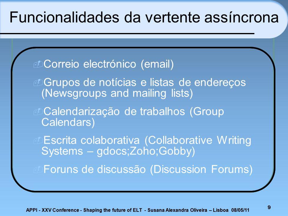 APPI - XXV Conference - Shaping the future of ELT - Susana Alexandra Oliveira – Lisboa 08/05/11 Google Sites Co-criaçãoComunicaçãoCooperaçãoInteraçãoMotivaçãoDesenvolvimentoAutonomia 20