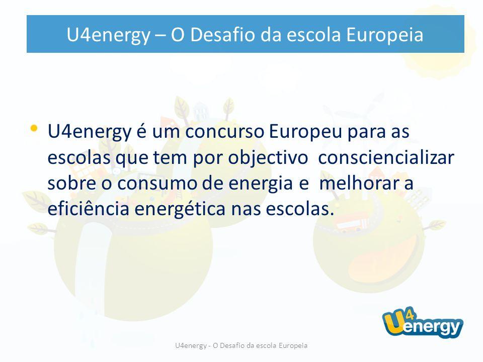 U4energy é uma initiativa da Commissão Europeia, financiada ao abrigo do programa Energia Inteligente Europa, o qual possui como objectivo tornar a Europa mais competitiva e inovadora, contribuindo simultaneamente para o atingir dos seus ambiciosos objectivos no âmbito das alterações climáticas U4energy é dinamizado pela European Schoolnet em nome da Comissão Europeia U4energy - O Desafio da escola Europeia U4energy – O Desafio da escola Europeia