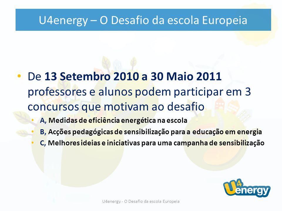 Escolas Autoridades e Comunidade Local Patrocinadores Organizações Media UE 27 + Noruega & Croátia Professores e Alunos U4energy – O Desafio da escola Europeia U4energy - O Desafio da escola Europeia