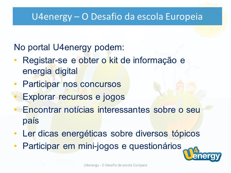 No portal U4energy podem: Registar-se e obter o kit de informação e energia digital Participar nos concursos Explorar recursos e jogos Encontrar notícias interessantes sobre o seu país Ler dicas energéticas sobre diversos tópicos Participar em mini-jogos e questionários U4energy - O Desafio da escola Europeia U4energy – O Desafio da escola Europeia