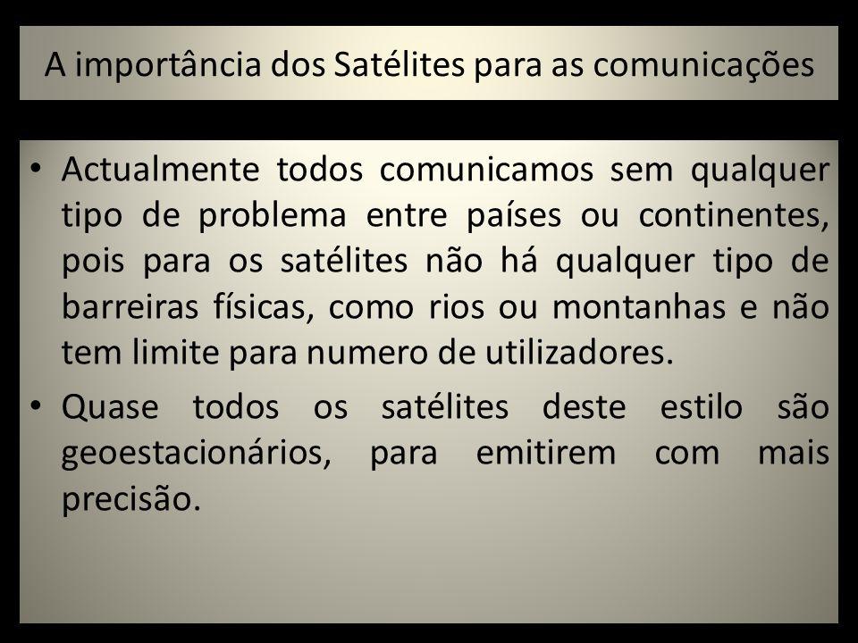 A importância dos Satélites para as comunicações Actualmente todos comunicamos sem qualquer tipo de problema entre países ou continentes, pois para os