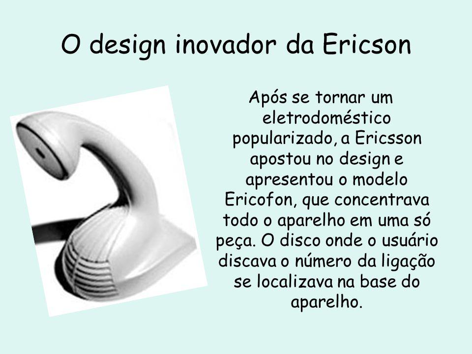 O design inovador da Ericson Após se tornar um eletrodoméstico popularizado, a Ericsson apostou no design e apresentou o modelo Ericofon, que concentr