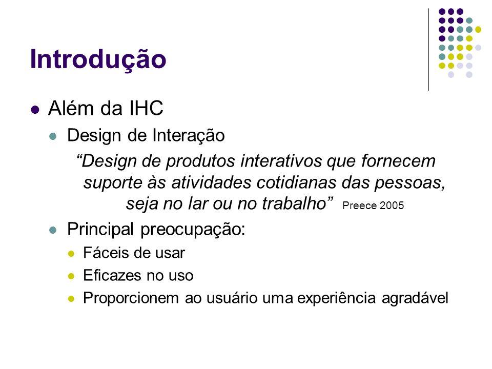 Introdução Além da IHC Design de Interação Design de produtos interativos que fornecem suporte às atividades cotidianas das pessoas, seja no lar ou no