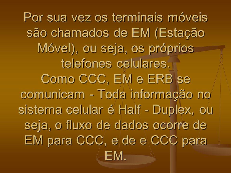 Por sua vez os terminais móveis são chamados de EM (Estação Móvel), ou seja, os próprios telefones celulares. Como CCC, EM e ERB se comunicam - Toda i