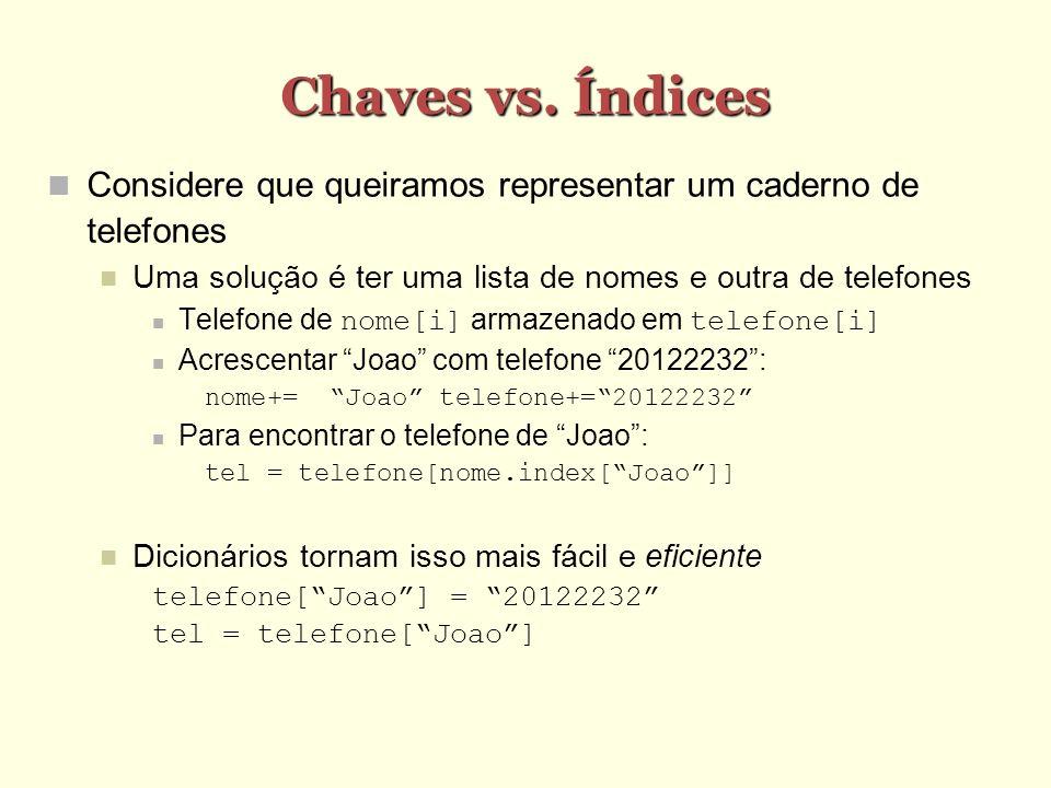 Chaves vs. Índices Considere que queiramos representar um caderno de telefones Uma solução é ter uma lista de nomes e outra de telefones Telefone de n