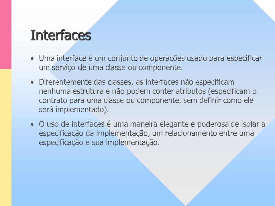 Interfaces Uma interface é um conjunto de operações usado para especificar um serviço de uma classe ou componente. Diferentemente das classes, as inte