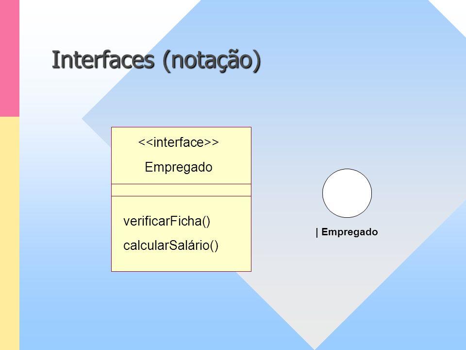 Interfaces (notação) | Empregado Empregado verificarFicha() calcularSalário() >