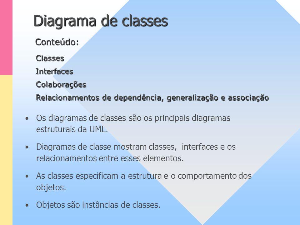 Diagrama de classes Os diagramas de classes são os principais diagramas estruturais da UML. Diagramas de classe mostram classes, interfaces e os relac