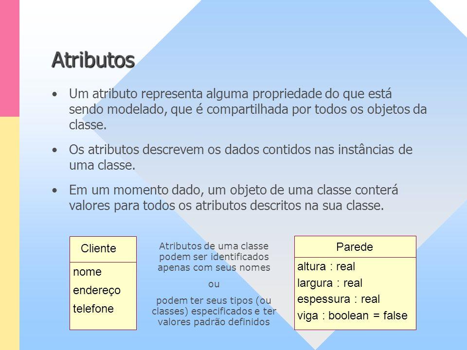 Atributos Um atributo representa alguma propriedade do que está sendo modelado, que é compartilhada por todos os objetos da classe. Os atributos descr