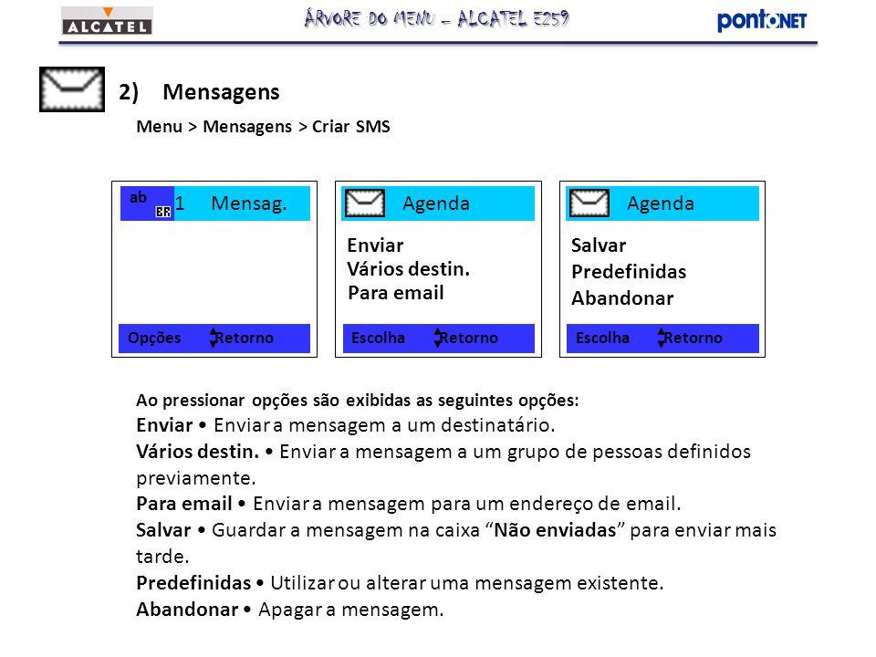 Opções Retorno 1 Mensag. 2)Mensagens Menu > Mensagens > Criar SMS ab Ao pressionar opções são exibidas as seguintes opções: Enviar Enviar a mensagem a