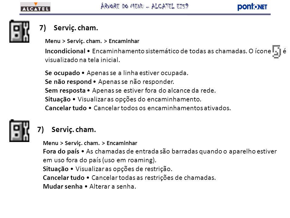 7)Serviç. cham. Menu > Serviç. cham. > Encaminhar Incondicional Encaminhamento sistemático de todas as chamadas. O ícone é visualizado na tela inicial