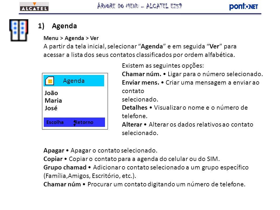 1)Agenda Menu > Agenda > Criar Cria um novo contato que pode ser armazenado tanto na memória do aparelho quanto no SIM card.