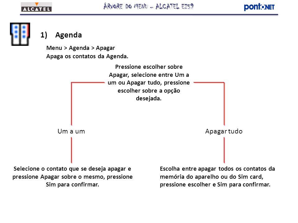 1)Agenda Menu > Agenda > Apagar Apaga os contatos da Agenda. Escolha entre apagar todos os contatos da memória do aparelho ou do Sim card, pressione e