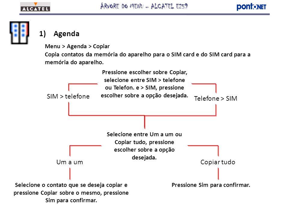 1)Agenda Menu > Agenda > Copiar Copia contatos da memória do aparelho para o SIM card e do SIM card para a memória do aparelho. Pressione escolher sob