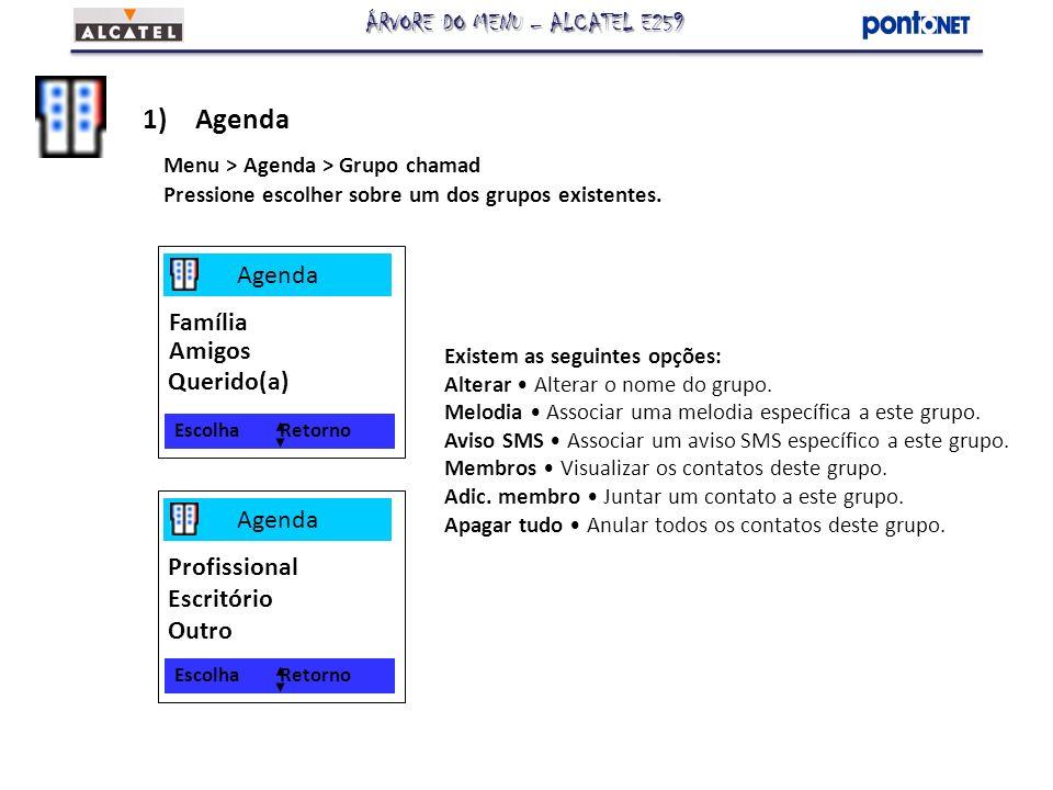 1)Agenda Menu > Agenda > Grupo chamad Pressione escolher sobre um dos grupos existentes. Família Amigos Querido(a) Profissional Escritório Outro Exist