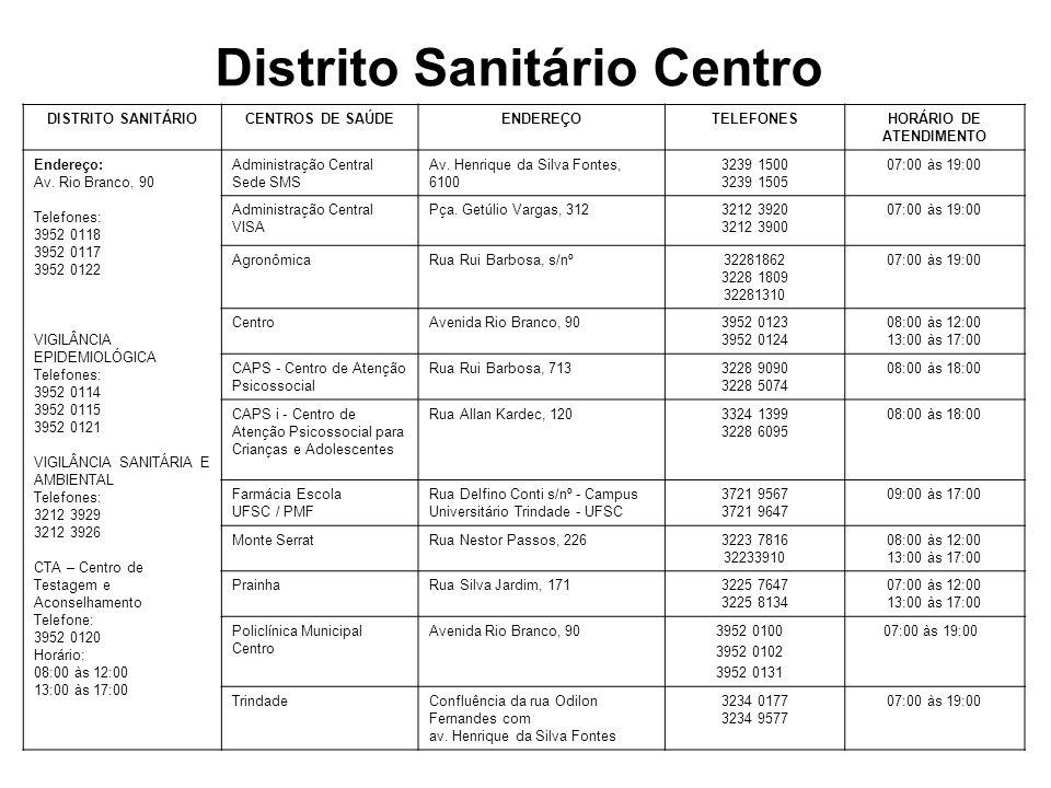Distrito Sanitário Continente DISTRITO SANITÁRIOCENTROS DE SAÚDE ENDEREÇOTELEFONESHORÁRIO DE ATENDIMENTO Endereço: Rua: Coronel Pedro Demoro, Nº 1923, 1º andar Telefones: 3244 3955 3244 2557 VIGILÂNCIA EPIDEMIOLÓGICA Telefones: 3244 3955 3244 2557 VIGILÂNCIA SANITÁRIA E AMBIENTAL Telefone: 3240-8282 CTA – Centro de Testagem e Aconselhamento Endereço: Rua Aracy Vaz Callado, 742 Telefone: 3248 2401 Horário: 07:00 às 17:00 AbraãoRua João Meirelles, s/nº3249 5844 3249 5962 08:00 às 12:00 13:00 às17:00 BalneárioAvenida Santa Catarina, 15703248 1620 3244 4904 08:00 às 12:00 13:00 às 17:00 CapoeirasRua Irmã Bonavita, 2863248 1621 3248 1740 08:00 às 12:00 13:00 às 17:00 CAPS ad - Centro de Atenção Psicossocial para Álcool e outras Drogas Rua José Cândido da Silva, 1253240 5472 3240 5679 08:00 às 18:00 ColoninhaRua Aracy Vaz Callado, 18303244 4902 3244 2891 08:00 às 12:00 13:00 às 17:00 ContinenteRua Des.