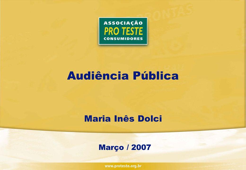 Audiência Pública Maria Inês Dolci Março / 2007