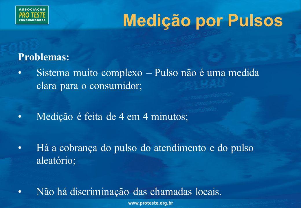 Medição por Pulsos Problemas: Sistema muito complexo – Pulso não é uma medida clara para o consumidor; Medição é feita de 4 em 4 minutos; Há a cobrança do pulso do atendimento e do pulso aleatório; Não há discriminação das chamadas locais.
