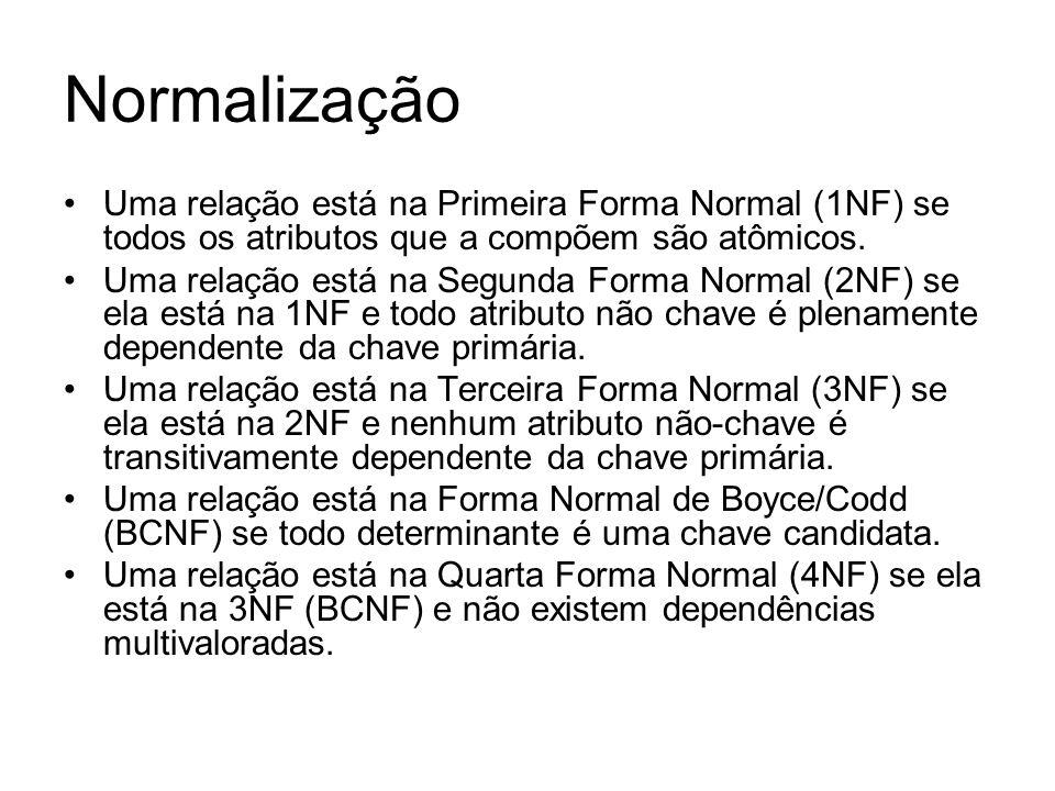 Normalização Uma relação está na Primeira Forma Normal (1NF) se todos os atributos que a compõem são atômicos. Uma relação está na Segunda Forma Norma