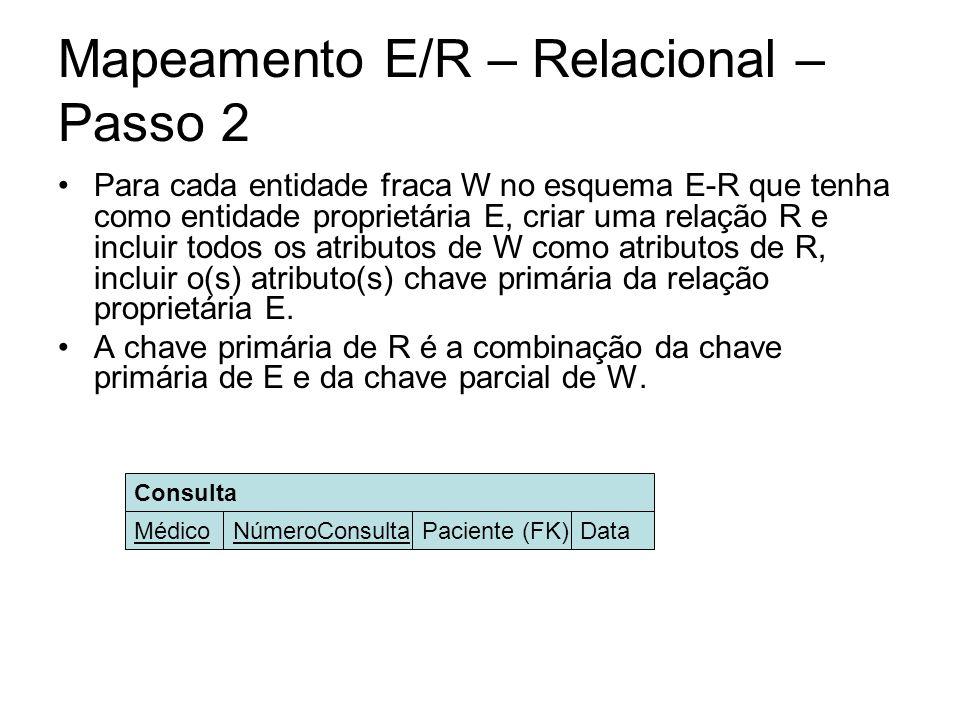 Mapeamento E/R – Relacional – Passo 2 Para cada entidade fraca W no esquema E-R que tenha como entidade proprietária E, criar uma relação R e incluir