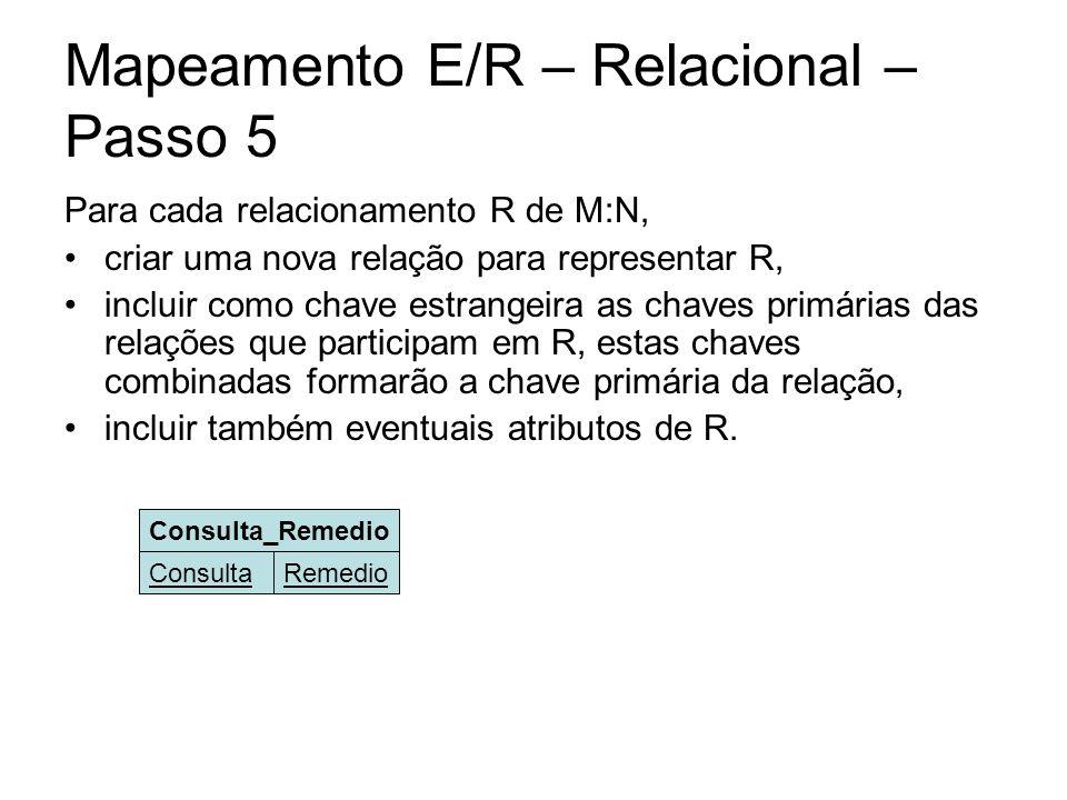 Mapeamento E/R – Relacional – Passo 5 Para cada relacionamento R de M:N, criar uma nova relação para representar R, incluir como chave estrangeira as