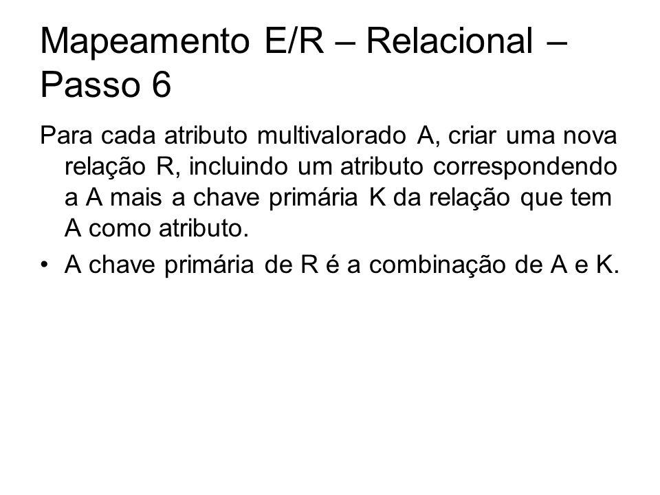 Mapeamento E/R – Relacional – Passo 6 Para cada atributo multivalorado A, criar uma nova relação R, incluindo um atributo correspondendo a A mais a ch