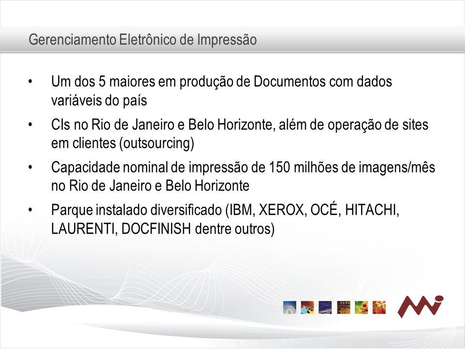 Gerenciamento Eletrônico de Impressão Um dos 5 maiores em produção de Documentos com dados variáveis do país CIs no Rio de Janeiro e Belo Horizonte, a